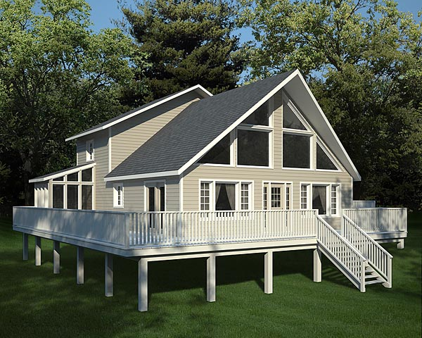A-Frame, Cabin, Contemporary House Plan 10515 with 3 Beds, 3 Baths Elevation