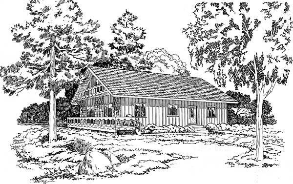 Bungalow Cottage Ranch House Plan 10518 Elevation