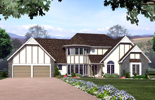 European Traditional Tudor House Plan 10555 Elevation