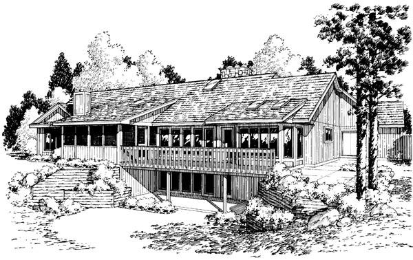 Contemporary Ranch Retro Traditional House Plan 10570 Rear Elevation