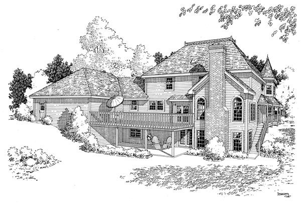 Rear Elevation of Country   Farmhouse  Victorian   House Plan 10690