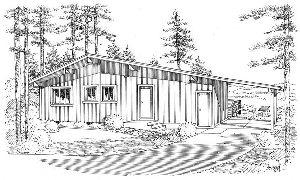Contemporary Retro House Plan 1074 Rear Elevation