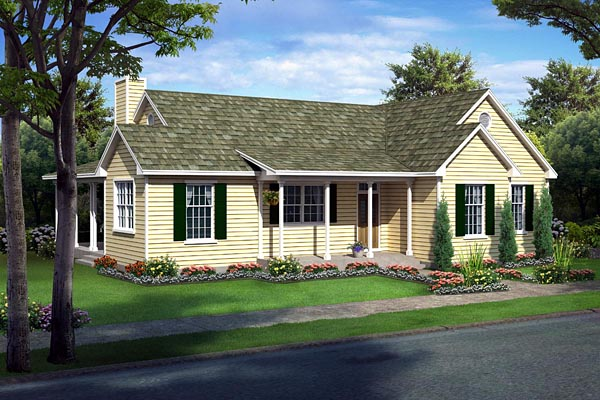 Country Farmhouse Ranch Traditional House Plan 10748 Elevation