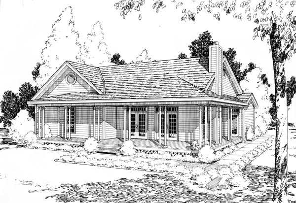 Country Farmhouse Ranch Traditional House Plan 10748 Rear Elevation