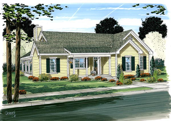 Cottage Country Farmhouse House Plan 10798 Elevation