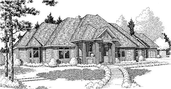 European Traditional House Plan 10807 Elevation