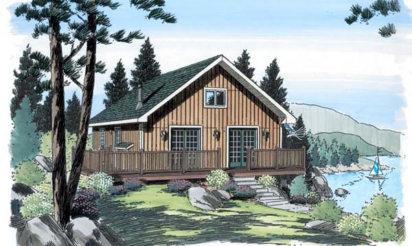 Cabin Cottage Traditional House Plan 20004 Elevation