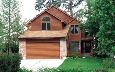 Contemporary, Narrow Lot, Retro, Traditional House Plan 20055 with 3 Beds, 3 Baths, 2 Car Garage