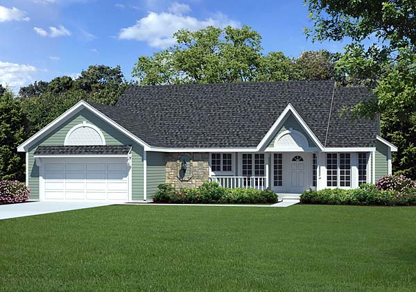 Country Ranch Traditional House Plan 20056 Elevation