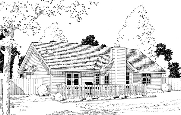 Country Ranch Traditional House Plan 20056 Rear Elevation