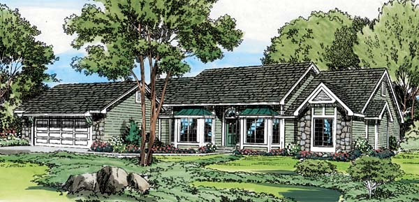 Ranch Traditional House Plan 20057 Elevation