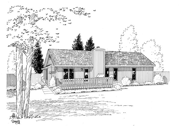 Ranch Retro Traditional House Plan 20062 Rear Elevation