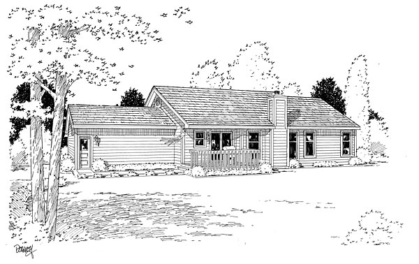 Ranch Traditional House Plan 20100 Rear Elevation
