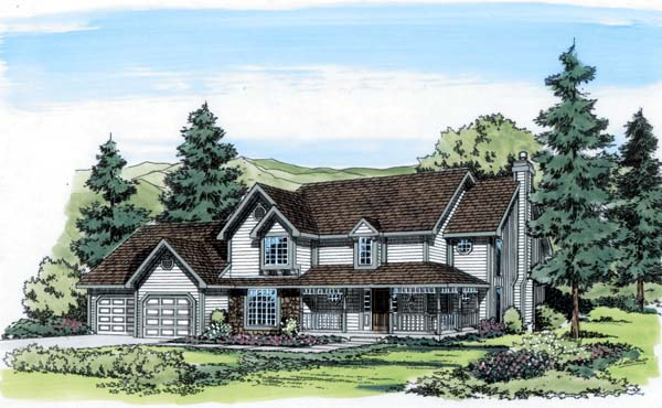 Country Farmhouse Southern Traditional House Plan 20121 Elevation