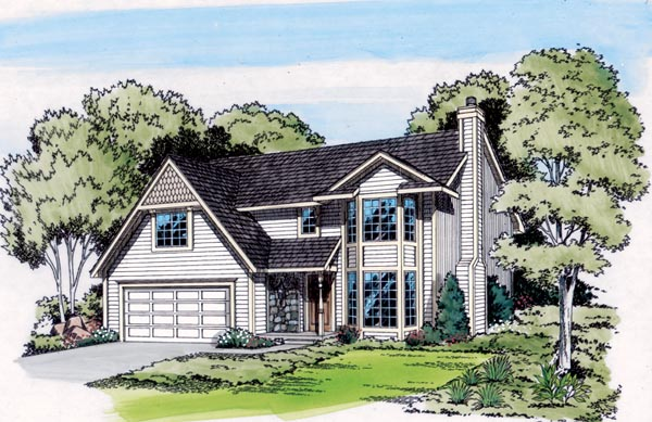 Contemporary, Retro, Traditional House Plan 20128 with 3 Beds, 3 Baths, 2 Car Garage Elevation
