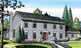 colonial saltbox house plan 20136 elevation