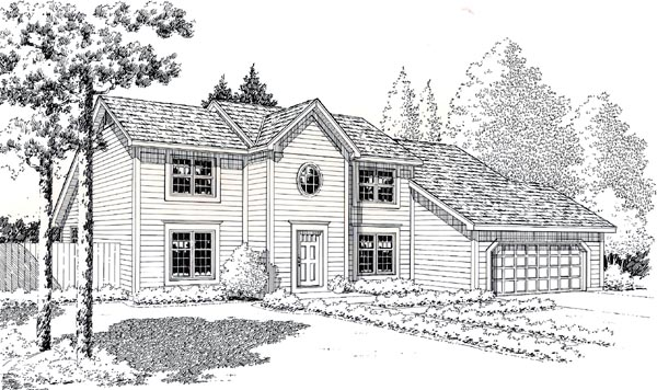 Colonial Contemporary Saltbox House Plan 20142 Elevation