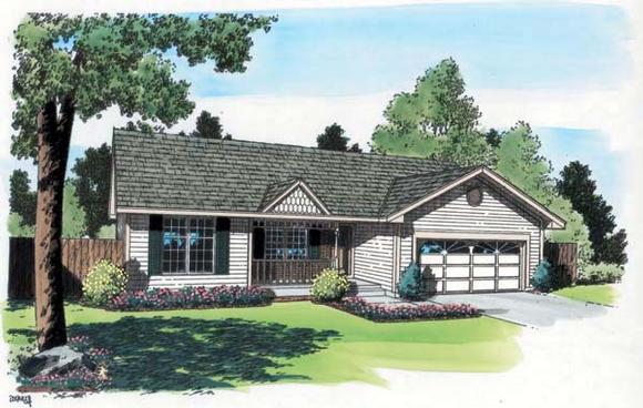 One-Story, Ranch, Traditional House Plan 20161 with 3 Beds, 2 Baths, 2 Car Garage Elevation