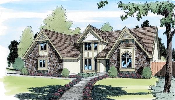 European Tudor House Plan 20173 Elevation
