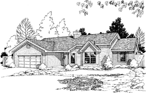 One-Story, Ranch, Traditional House Plan 20191 with 3 Beds, 2 Baths, 2 Car Garage Elevation