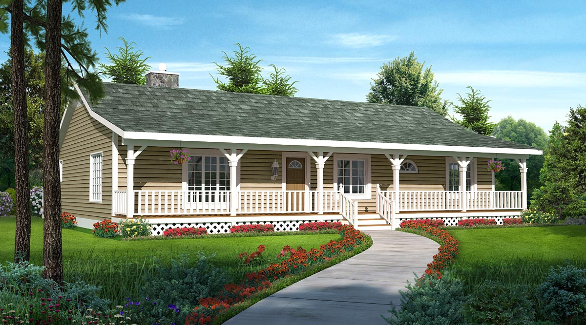 House plan 20227 at for Ideas for covered back porch on single story ranch