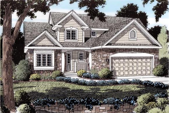 Traditional House Plan 20230 with 4 Beds, 3 Baths, 2 Car Garage Elevation