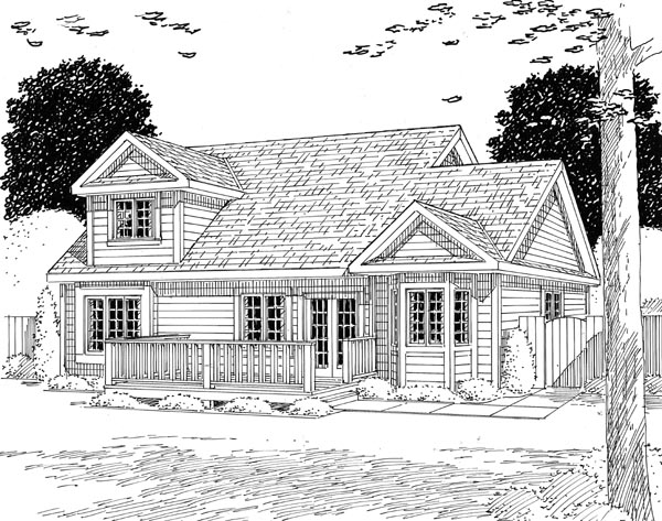 Traditional House Plan 20230 with 4 Beds, 3 Baths, 2 Car Garage Rear Elevation