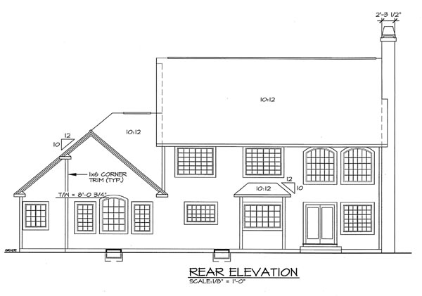 Colonial House Plan 20233 Rear Elevation