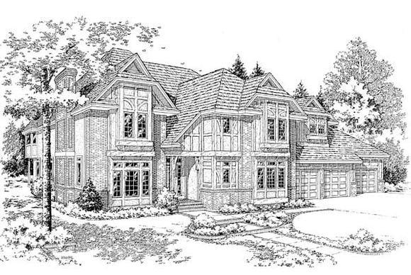 European, Tudor House Plan 20356 with 4 Beds, 5 Baths, 3 Car Garage Elevation