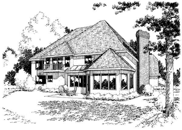 European Traditional House Plan 20359 Rear Elevation