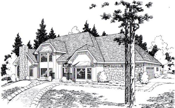 European Traditional House Plan 20375 Elevation