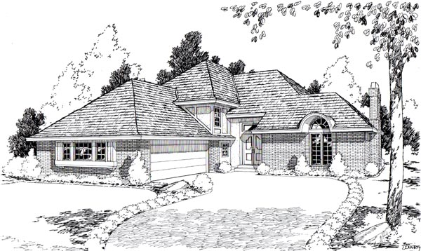 European Traditional House Plan 20502 Elevation