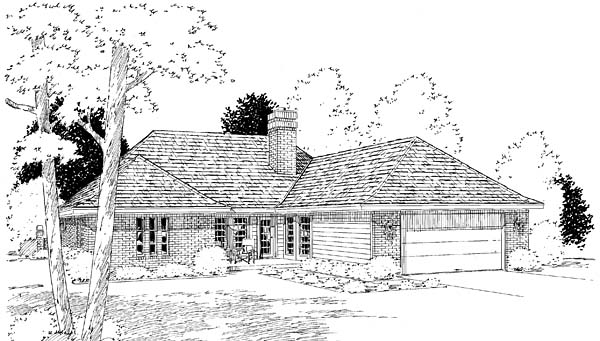 European, One-Story, Ranch, Traditional House Plan 22004 with 4 Beds, 3 Baths, 2 Car Garage Rear Elevation