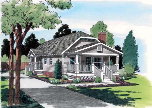 Bungalow Country Craftsman House Plan 24241 Elevation