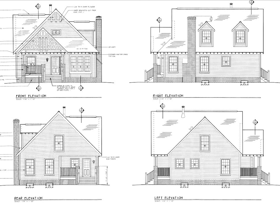 Bungalow, Craftsman House Plan 24242 with 4 Beds, 3 Baths Picture 1