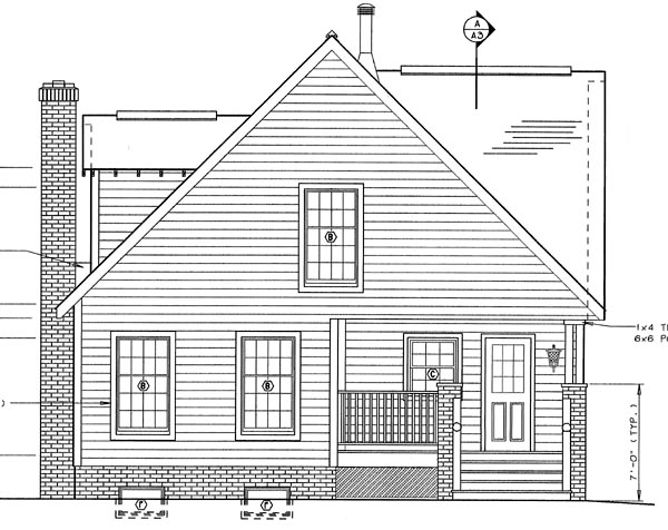 Bungalow, Craftsman House Plan 24242 with 4 Beds, 3 Baths Rear Elevation