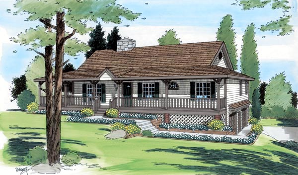 Elevation of Country   Ranch   House Plan 24249