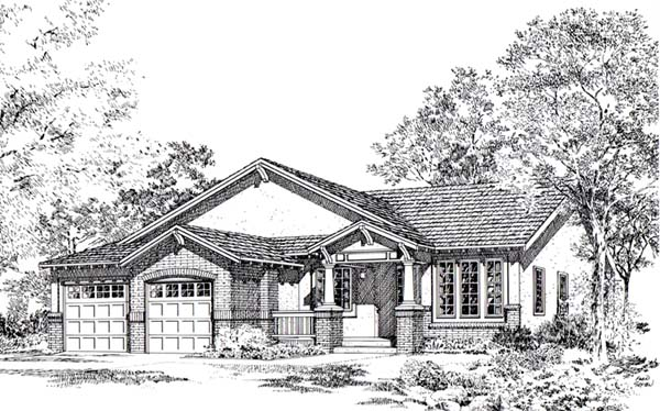 Bungalow Craftsman Traditional House Plan 24257 Elevation