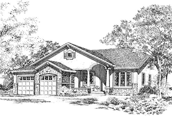 Bungalow Craftsman Mediterranean Traditional House Plan 24258 Elevation