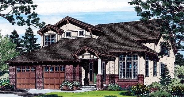 Bungalow Craftsman Southwest Traditional House Plan 24266 Elevation