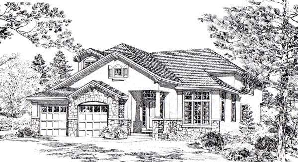 Bungalow Mediterranean Traditional House Plan 24267 Elevation