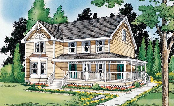 Country Farmhouse Victorian House Plan 24301 Elevation