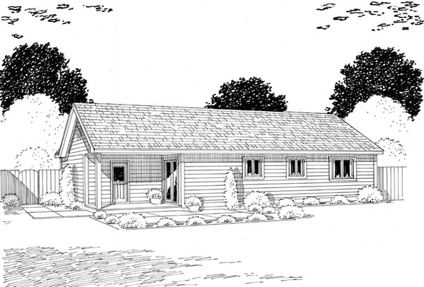 Ranch Traditional House Plan 24302 Rear Elevation