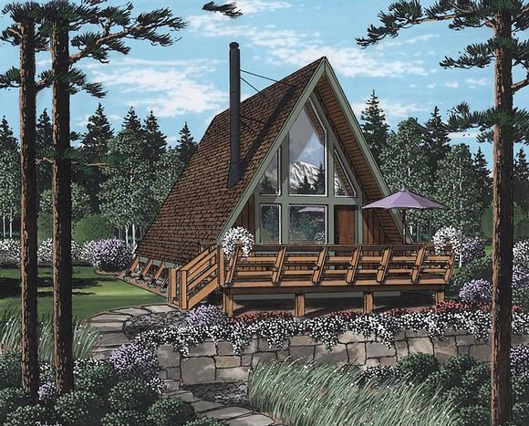 A-Frame, Contemporary, Retro House Plan 24308 with 2 Beds, 1 Baths Elevation
