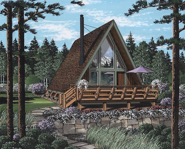 A-Frame Contemporary Retro House Plan 24308 Elevation