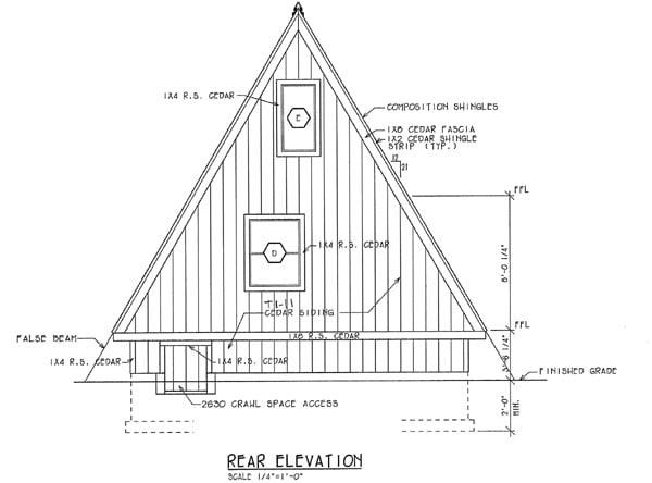 A-Frame Contemporary Retro House Plan 24308 Rear Elevation