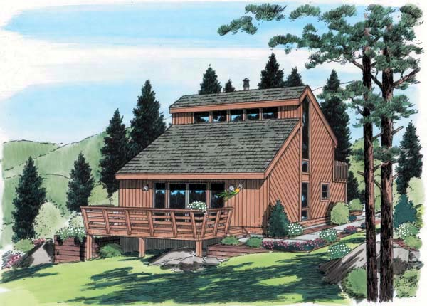 Contemporary, Retro House Plan 24312 with 3 Beds, 2 Baths Elevation
