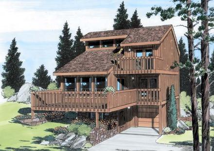 Contemporary House Plan 24319 with 3 Beds, 2 Baths, 1 Car Garage