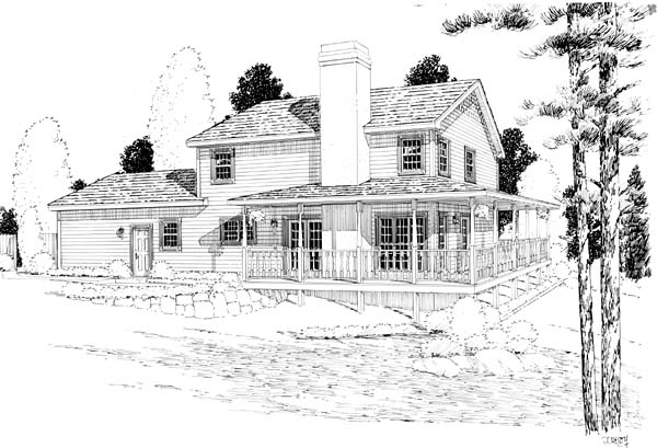 Country Farmhouse Traditional House Plan 24400 Rear Elevation