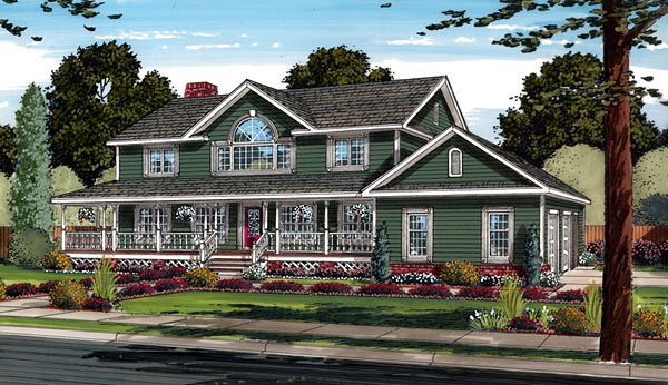 Country Farmhouse Southern Traditional House Plan 24403 Elevation